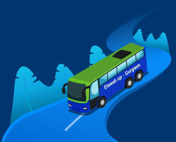 Etawah Up to Gurgaon Bus