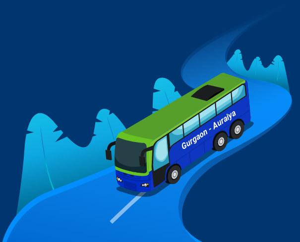 Gurgaon to Auraiya Bus